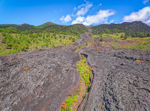 Lava「Arial View of Lava field of San Juan near village Todoque, Las Manchas, Puerto Naos and Cumbre Vieja on Canary Islands La Palma in the province of Santa Cruz de Tenerife - Spain」:スマホ壁紙(11)