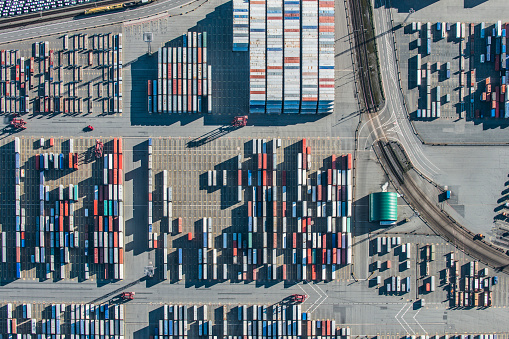Freight Transportation「Arial View of Container Terminal and railway tracks」:スマホ壁紙(4)