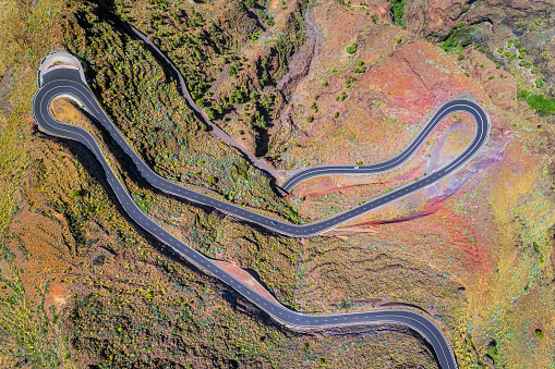 Hairpin Curve「Arial View of Hairpin turns near by Valle Gran Rey on Canary Islands La Gomera in the province of Santa Cruz de Tenerife - Spain」:スマホ壁紙(19)