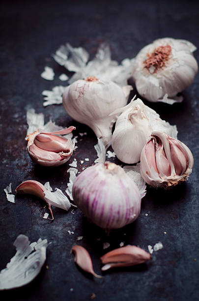 Garlic bulbs and cloves on dark ground:スマホ壁紙(壁紙.com)
