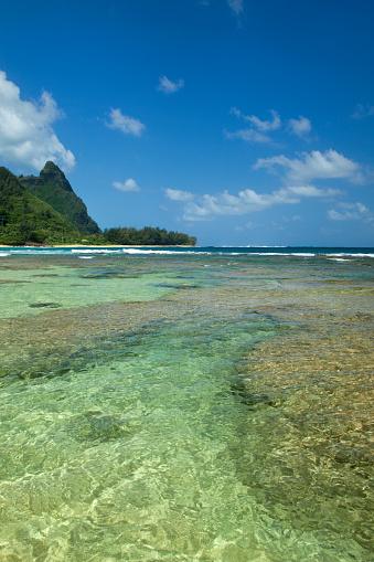 ハワイ ビーチ「Bali Hai green peaks and Tunnels Beach, Kauai, Hawaii, USA」:スマホ壁紙(12)