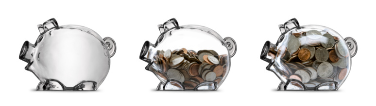 Coin「Clear Piggy Bank Savings Stages Empty Half Filled Full Isolated」:スマホ壁紙(16)