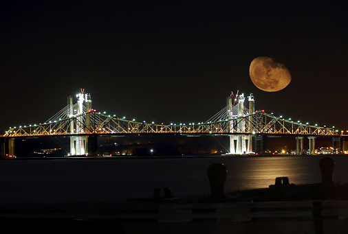 Surface of the moon「Supermoon Rises Behind the Tappan Zee Bridge Under Construction」:スマホ壁紙(14)