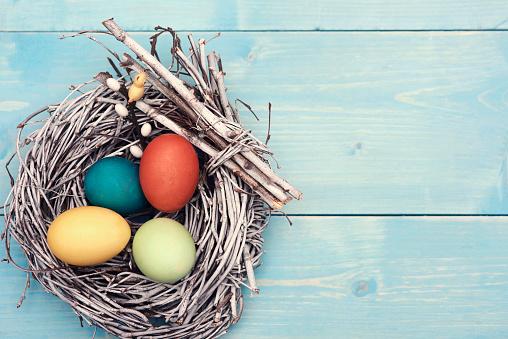 イースター「Easter nest with multi colored eggs. Debica, Poland」:スマホ壁紙(17)