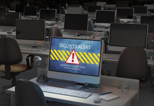 Alertness「Computer in dark office, security alert on screen」:スマホ壁紙(18)