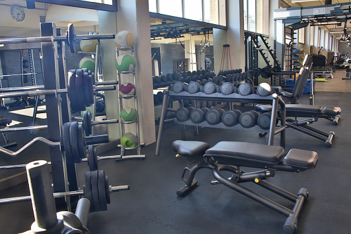 Sports Training「Empty weights training hall in Health Club」:スマホ壁紙(10)