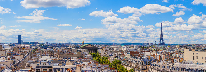France「Paris cityscape, amazing aerial view of the Eiffel Tower and surroundings downtown area」:スマホ壁紙(12)