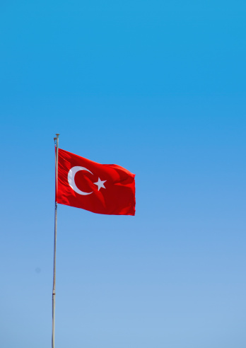 Turkey - Middle East「Turkey, Turkish flag against blue sky」:スマホ壁紙(13)