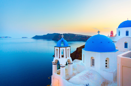 Sunset sea「Church in Oia on Santorini island, Greece」:スマホ壁紙(13)