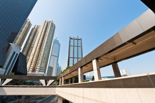 Downtown District「Urban jungle overpasses skyscrapers glass steel towers Hong Kong China」:スマホ壁紙(13)