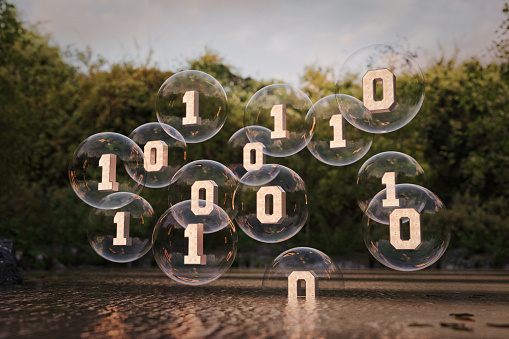 Virtual Reality「Binary code floating in bubbles above river」:スマホ壁紙(5)