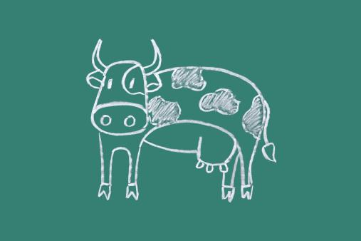 Cartoon「Cow drawn on blackboard」:スマホ壁紙(15)