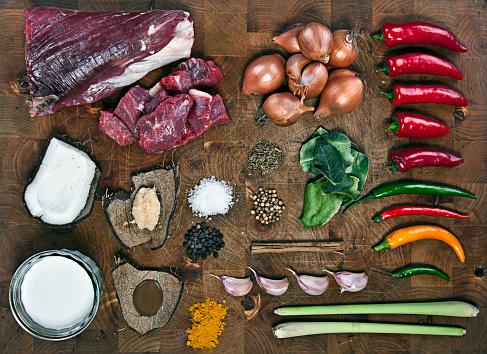 Skirt「Raw beef curry ingredients on chopping board」:スマホ壁紙(13)