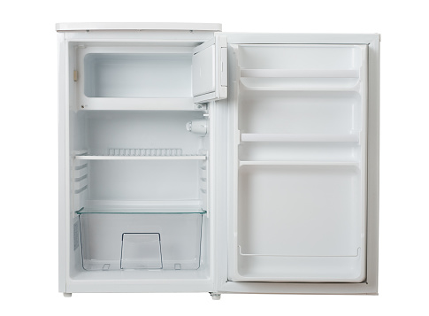 Blank「Open, empty and clean white mini refrigerator」:スマホ壁紙(1)