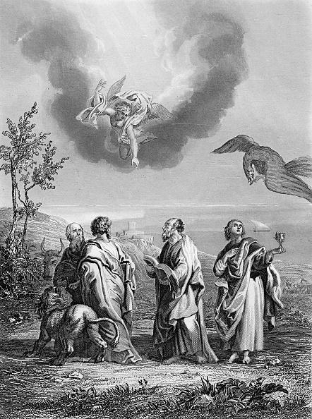 Preacher「the four evangelists : Saint Matthew, Saint Mark, Saint Luke and Saint John, engraving after a drawing by J.Natalis 19th century」:写真・画像(12)[壁紙.com]