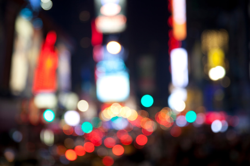 Funky「abstract defocused times square ads in manhattan at night」:スマホ壁紙(2)