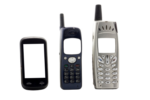 Mobile Phone「vintage cell phones, cut out on white background」:スマホ壁紙(9)