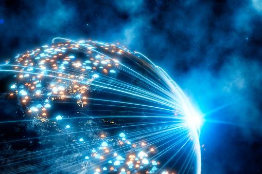 Success「Cloud Network and Computing on world globe」:スマホ壁紙(2)