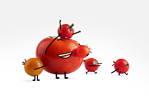 Cartoon「A group of tomato friends with illustrated facial features enjoy each other's company」:スマホ壁紙(2)