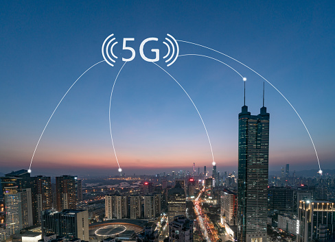 Internet of Things「Smart city and communication network concept Aerial View」:スマホ壁紙(3)