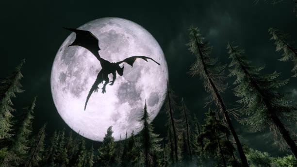 Dragon flying in the night:スマホ壁紙(壁紙.com)