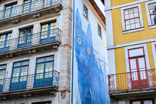 Mural「Portugal, Porto, Cat mural on townhouse wall seen from below」:スマホ壁紙(7)