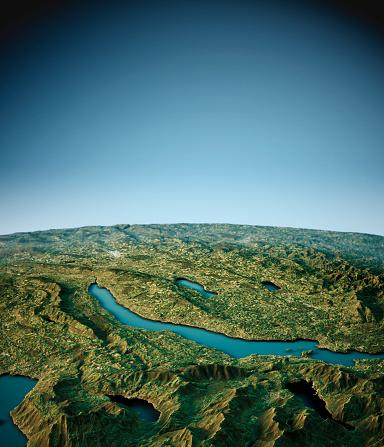 St Gallen Canton「Lake Zurich 3D View South-North Natural Color」:スマホ壁紙(14)