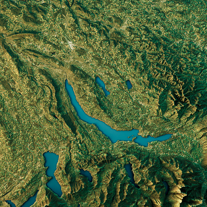 自然地理学「Lake Zurich Topographic Map Natural Color Top View」:スマホ壁紙(18)