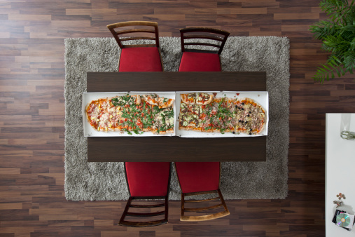 Two Objects「Two large pizzas side by side running the length of a table, overhead view」:スマホ壁紙(3)