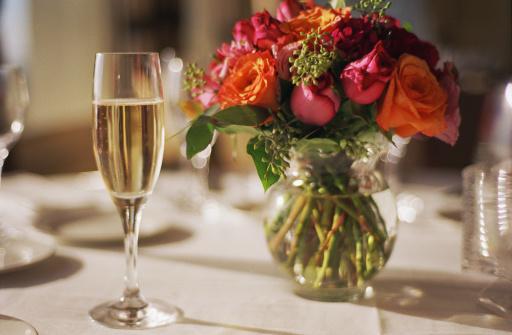 Flower Arrangement「Champagne glass and floral arrangement」:スマホ壁紙(17)