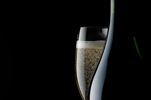 Black Color「Champagne glass and blank bottle against black background」:スマホ壁紙(16)