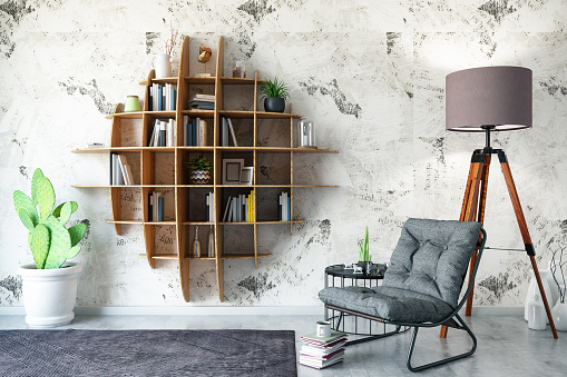Art「Creative Bookshelf Design with Armchair」:スマホ壁紙(18)