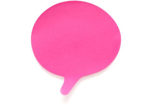 Speech Bubble「Blank pink speech postit note isolated on white」:スマホ壁紙(11)