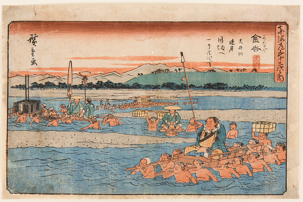 静岡県「Kanaya Crossing A Wide River From The Fifty-Three Stations Of The Tokaido」:写真・画像(1)[壁紙.com]