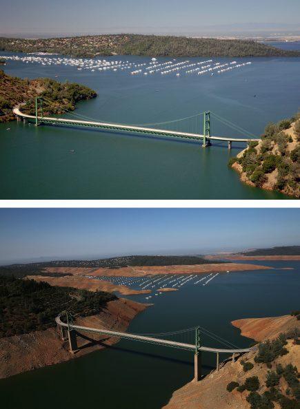 Composite Image「Before And After: Statewide Drought Takes Toll On California's Lake Oroville Water Level」:写真・画像(19)[壁紙.com]