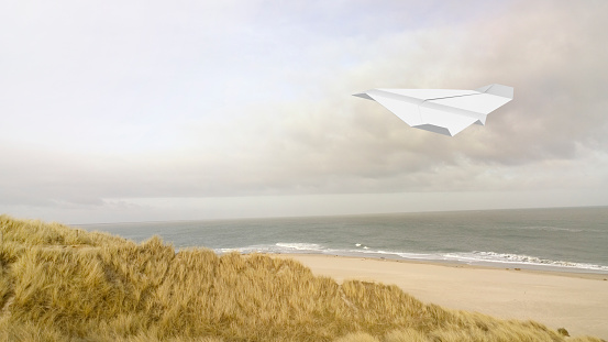Hovering「Paper plane, beach in the background, 3D Rendering」:スマホ壁紙(19)