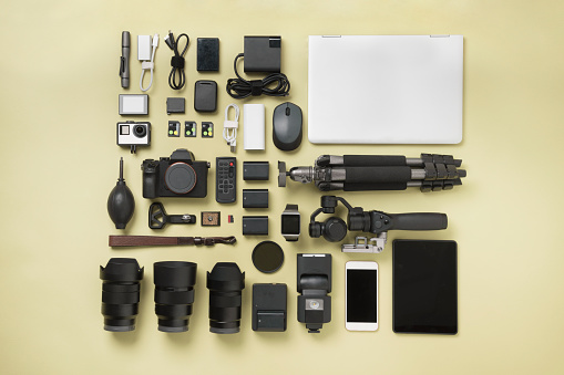 Photography Themes「Photographic Equipment knolling style」:スマホ壁紙(1)