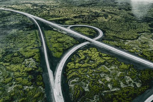 Volcanic Landscape「Aerial perspective of an Icelandic highway」:スマホ壁紙(17)