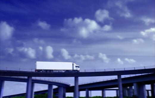 Elevated Road「Lorry driving on motorway flyover (Digital Enhancement)」:スマホ壁紙(4)