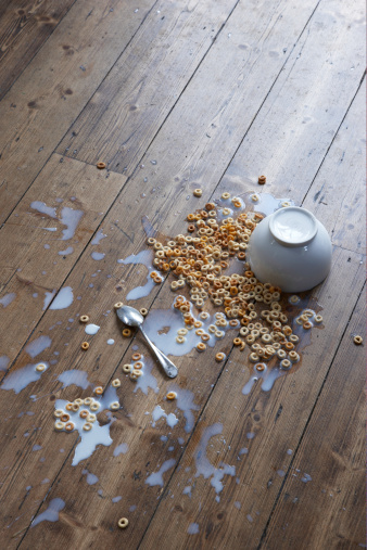 Bowl「spilled breakfast cereal on floor」:スマホ壁紙(3)