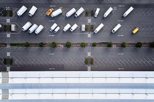 Dividing Line - Road Marking「Parking lot for trucks - aerial view」:スマホ壁紙(5)