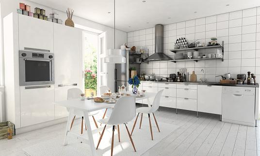 Food and Drink「Typical Scandinavian Kitchen Interior」:スマホ壁紙(3)