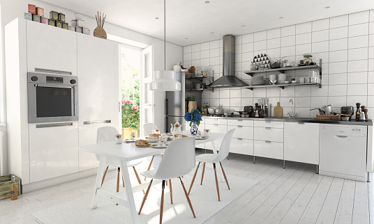 Refrigerator「Typical Scandinavian Kitchen Interior」:スマホ壁紙(18)