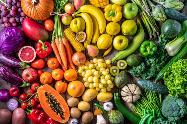 Colorful vegetables and fruits vegan food in rainbow colors:スマホ壁紙(壁紙.com)