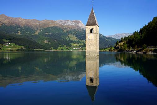 Alto Adige - Italy「Churchtower of Curon in Lake Resia」:スマホ壁紙(8)