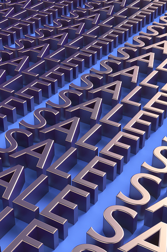 Credit Card Purchase「Bronze letters of the word SALE on a blue background. 3d illustration」:スマホ壁紙(11)