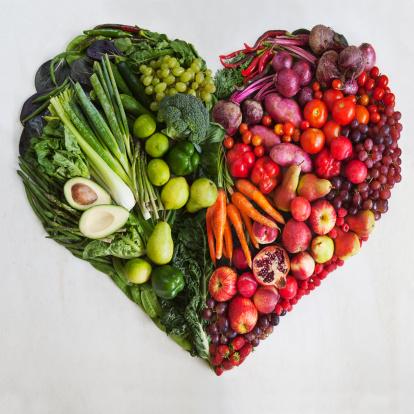 ハート「Red & Green Food Heart」:スマホ壁紙(1)