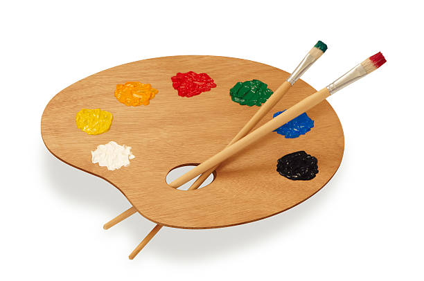 Painter's multicolored palette isolated on white:スマホ壁紙(壁紙.com)