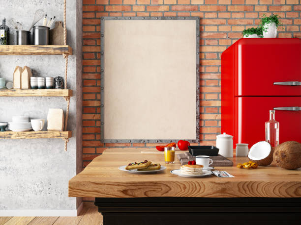 Kitchen Counter with Foods and Empty Frame:スマホ壁紙(壁紙.com)