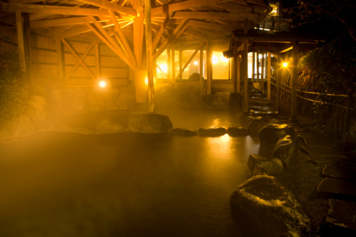 Hot Spring「Japanese common tub in the night, hot spring, high angle view, lens flare, Japan」:スマホ壁紙(14)